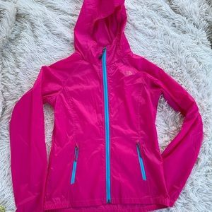 THE NORTH FACE PINK ZIP UP WINDBREAKER JACKET
